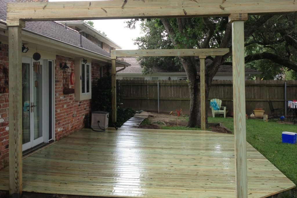 wooden outdoor deck construction