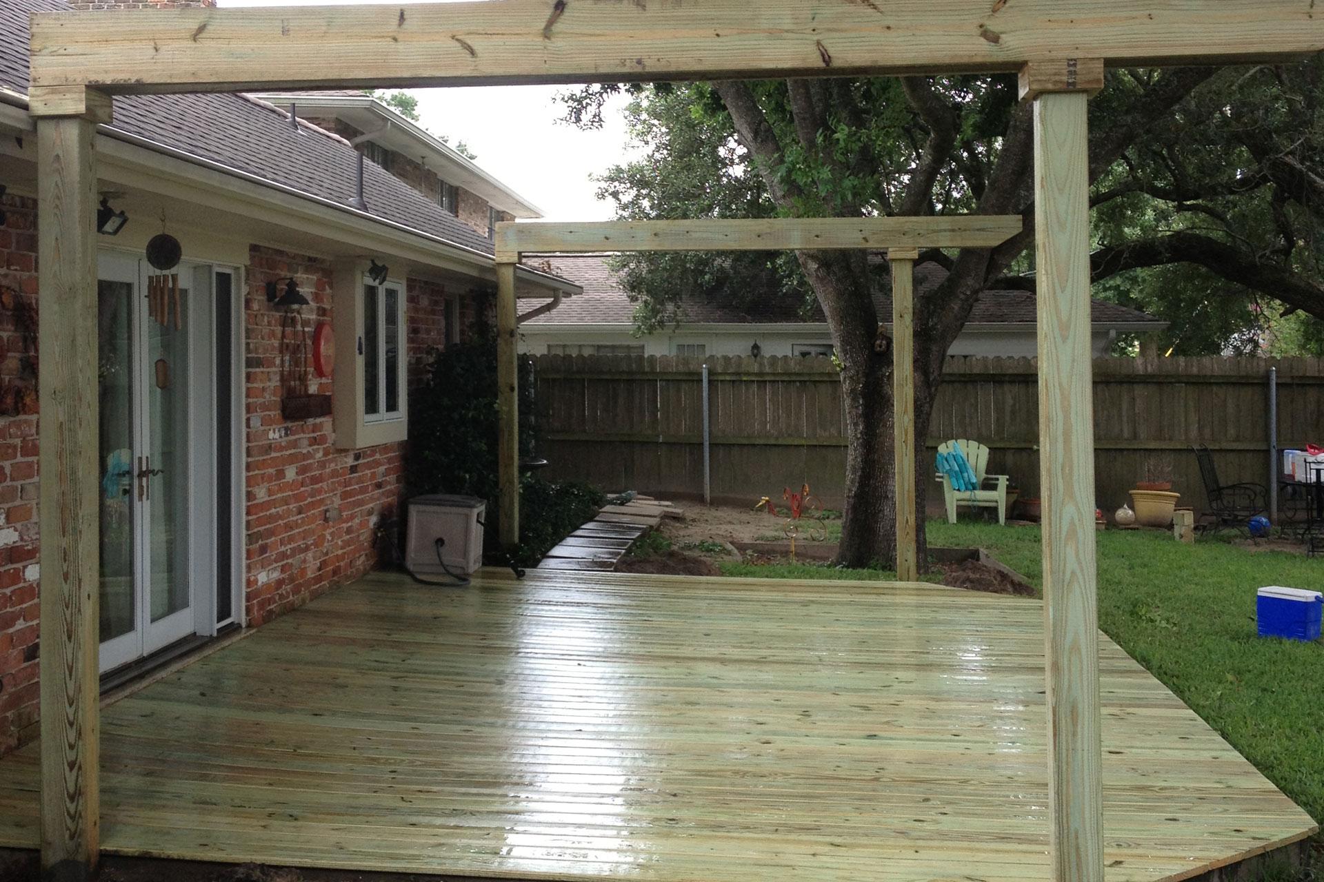 wooden outdoor deck construction